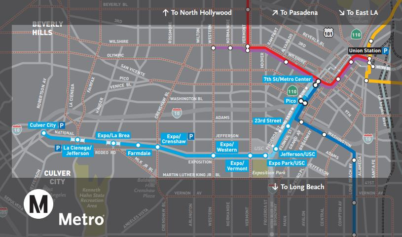 Landmarks and survey work along the expo line the for The line los angeles