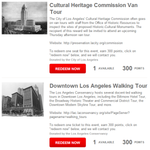 Two participation prizes are available in the MyHistoricLA.org Rewards Store.