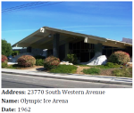 This Mid-Century Modern ice arena in Harbor City illustrates commercial recreation in the post-WWII era.