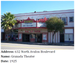 The Granada Theater is in the Renaissance Revival style and is located along Avalon Blvd. home to some of Wilmington's earliest commercial buildings.