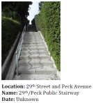 Hilly topography and the need to quickly access streetcar and bus lines made public stairways like this important in some early residential areas.