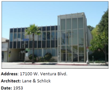 A commercial example of Mid-Century Modern architecture, designed by local architects.
