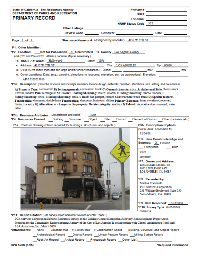 This DPR form describes a building that was surveyed.