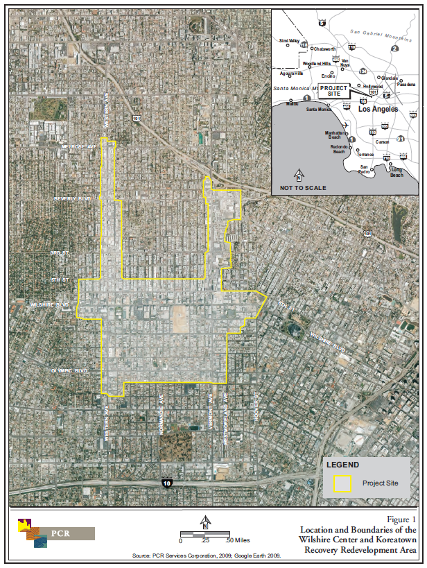 A map of the Wilshire Center and Koreatown Recovery Redevelopment Area survey area, roughly bounded by Hoover St. (east) 12th St. (south), Wilton Pl. (west) and 5th St. (north) with northerly extensions along Vermont Ave. and Western Ave.